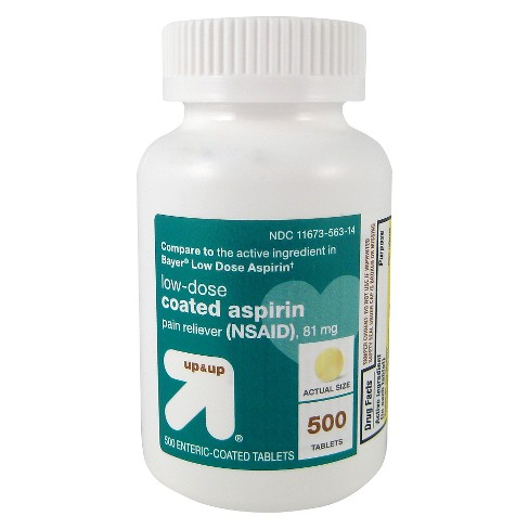 Aspirin (NSAID) Pain Reliever Enteric Safety-Coated Tablets - 500ct - Up&Up™ - image 1 of 1
