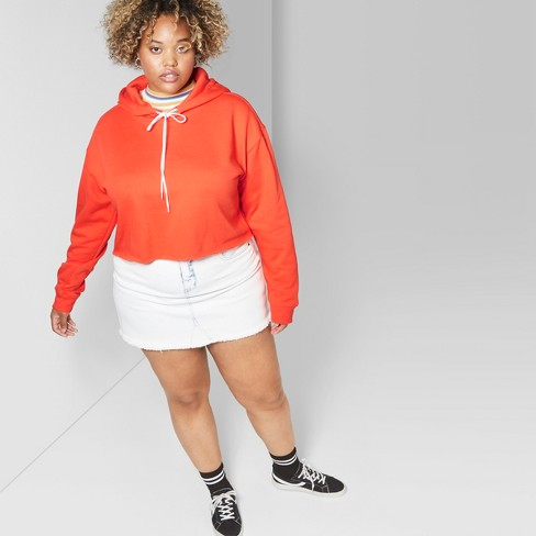 39ab558c6b9a8 Women s Plus Size Hooded Cropped Sweatshirt - Wild Fable™ Tigerlily Orange