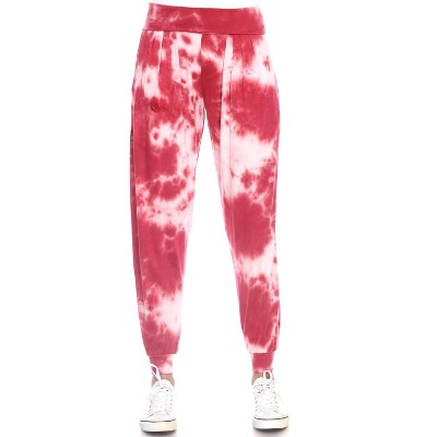 Women's Tie Dye Harem Pants with Pockets - White Mark