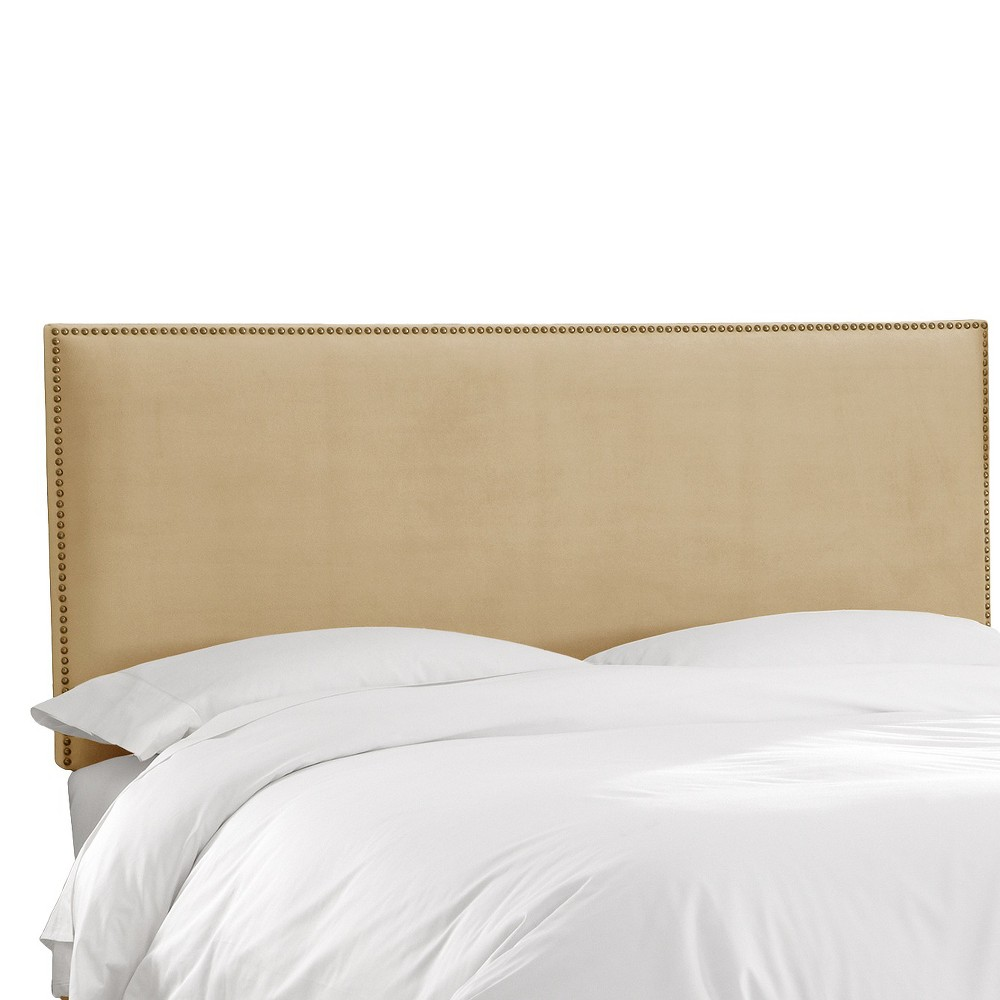 California King Arcadia Nailbutton Headboard Velvet Buckwheat Skyline Furniture