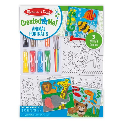 Melissa & Doug Canvas Painting Set: Animals - 3 Canvases, 8 Tubes of Paint - image 1 of 4