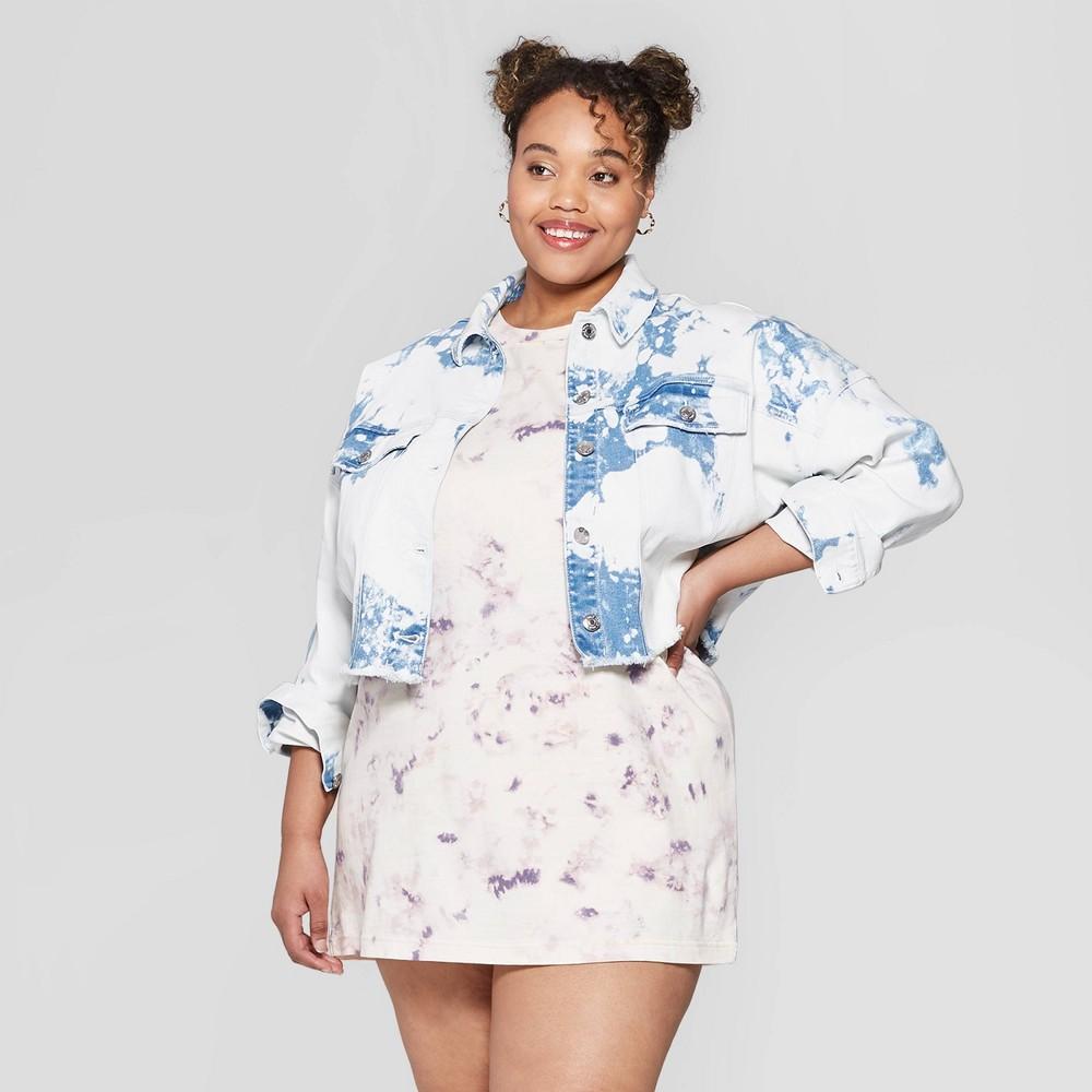 Women's Plus Size Long Sleeve Bleached Button-Down Denim Jacket - Wild Fable Medium Wash 4X, Blue