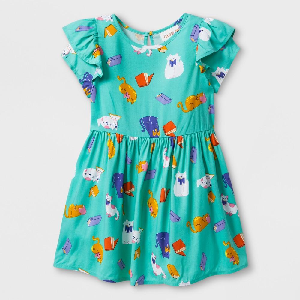 petiteToddler Girls' Short Sleeve Cat A-Line Dress - Cat & Jack Iridescent Green 3T, Girl's was $14.99 now $6.74 (55.0% off)