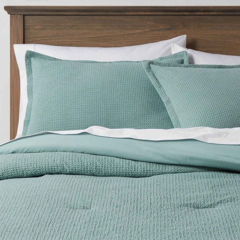 Full Queen Washed Waffle Weave Comforter 38 Sham Set Soft Aqua Threshold 8482