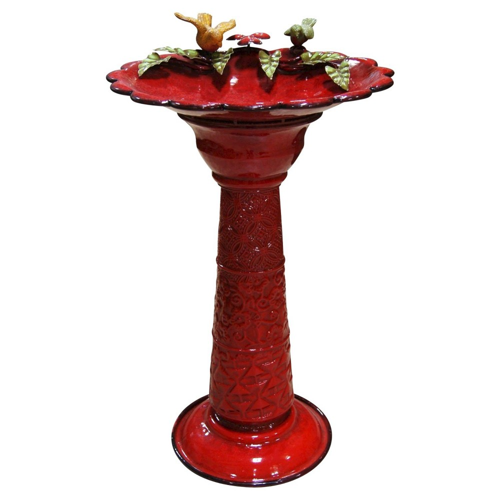 "Image of ""28"""" Metal Birdbath With Birds And Leaves - Red - Alpine Corporation"""
