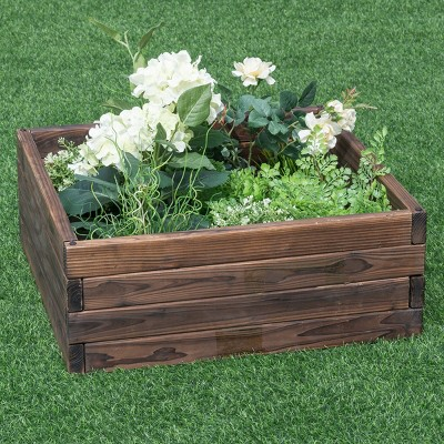 Costway Square Raised Garden Bed Flower Vegetables Seeds Planter Kit Elevated Box
