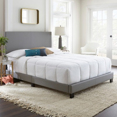 Faux Leather Langley Upholstered Platform Bed Frame Queen Gray-Eco Dream