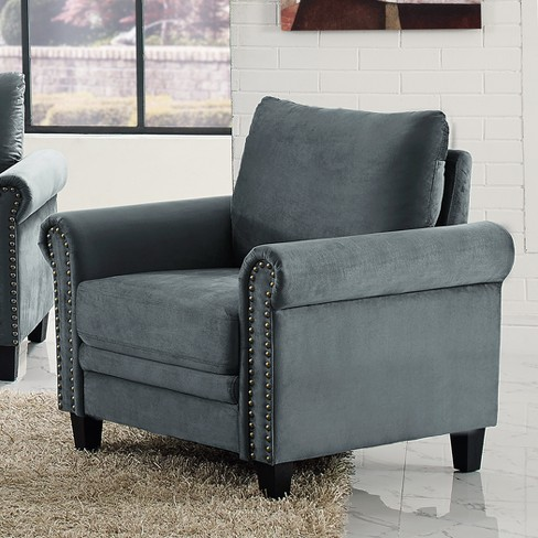 Averton Microfiber Upholstery Armchair with Nailhead Trimming in Dark Gray - Lifestyle Solutions - image 1 of 3