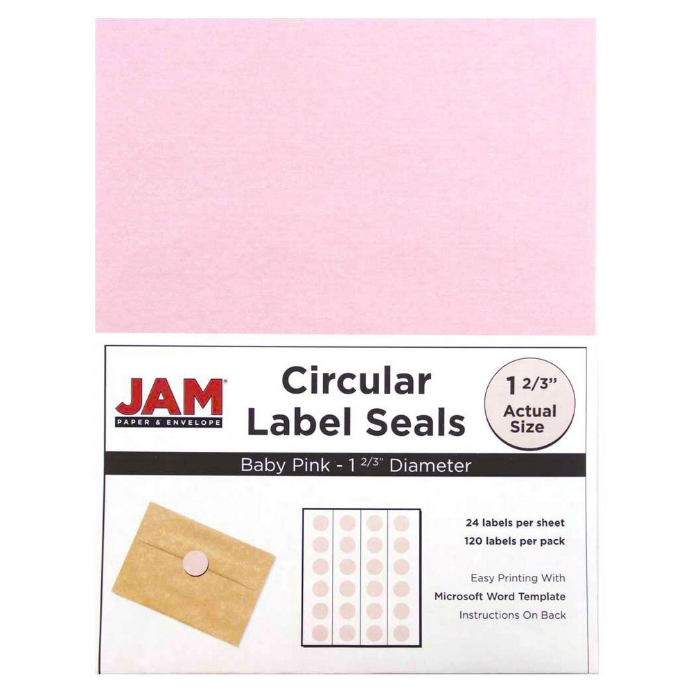 Jam Paper Circle Sticker Seals 1 2/3 120ct - Light Pink Jam Paper Round Circle Label Sticker Seals measure 1 2/3 inches in diameter and are sold on sheets of 24 labels. Each pack contains 5 sheets for a total of 120 labels per pack! These labels feature a light, soft, and inviting baby blue color that will give a peaceful and calm look to your mail. These labels are great for reinforcing envelopes, creating small price tags for yard sales, marking mail or items with initials, and more! Compatible with most printers, these labels can be customized in your own office or home. Additionally, they are easy to write on with most kinds of pens and markers. Try these round labels for your home or office needs. Color: Light Pink. Age Group: Adult.
