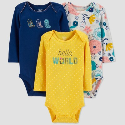 Baby Girls' 3pk Hello World Bodysuit - Just One You® made by carter's Yellow/Blue 3M