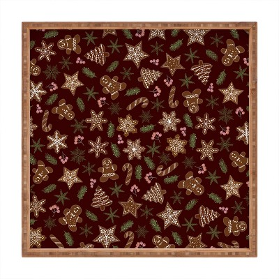 Iveta Abolina Gingerbread Cookies Red Square Bamboo Tray - Deny Designs