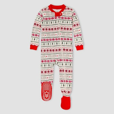 Burt's Bees Baby® Baby Fair Isle Organic Cotton Tight Fit Footed Pajama - Red 0-3M