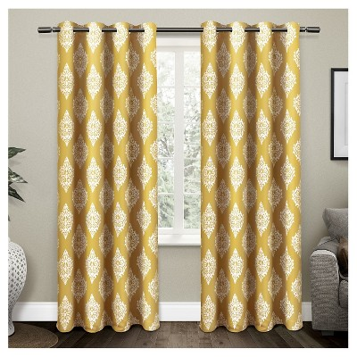 Set Of 2 / Pair Medallion Blackout Thermal Grommet Top Window Curtain Panels (52 X96 )Exclusive Home