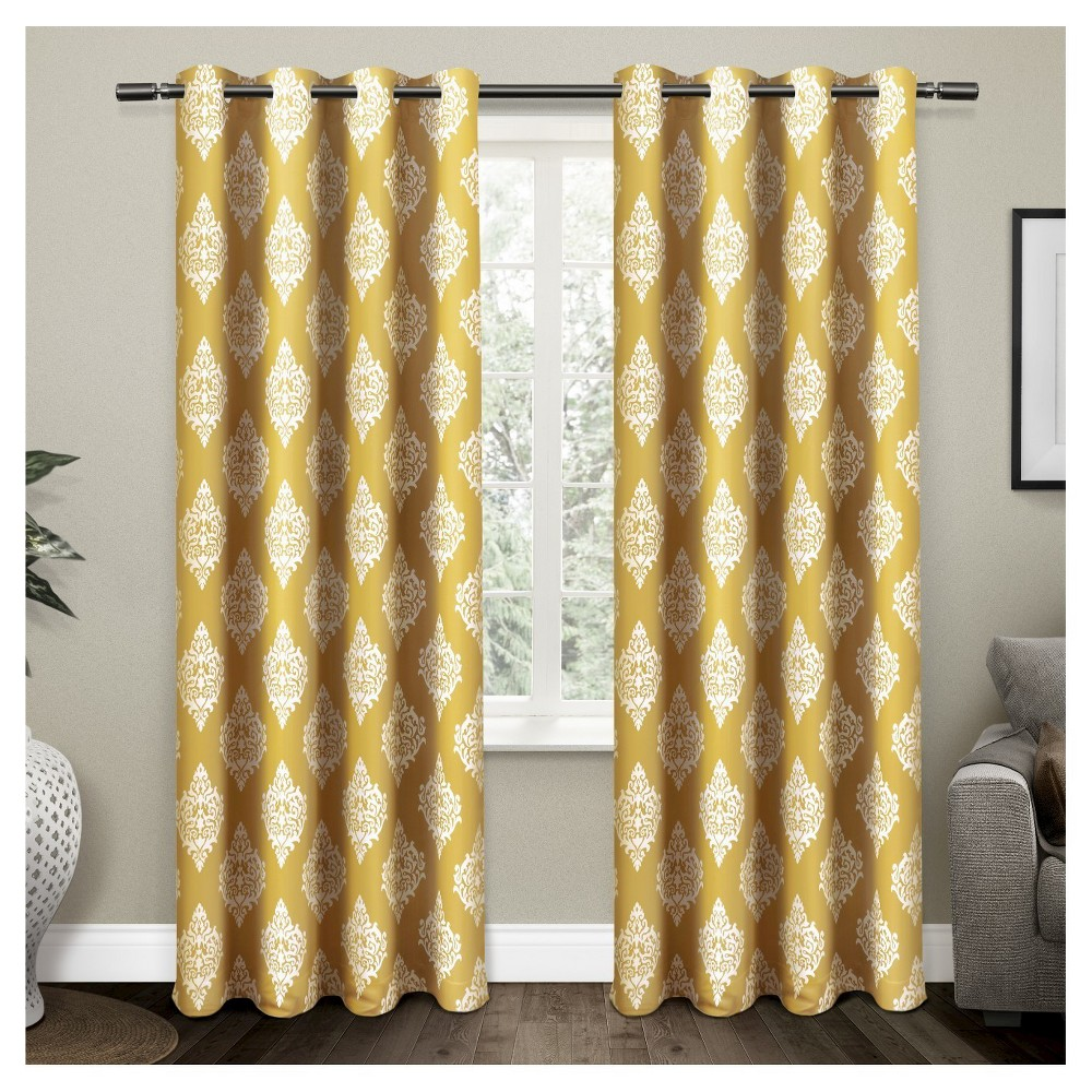 Set Of 2 / Pair Medallion Blackout Thermal Grommet Top Window Curtain Panels (52