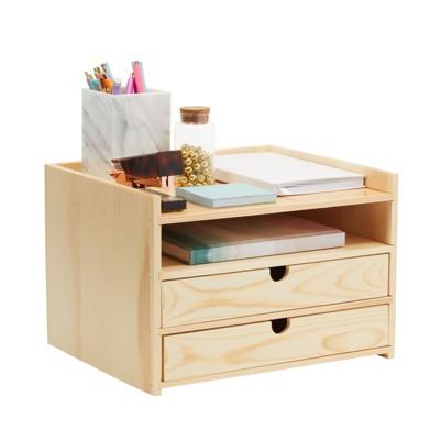 Okuna Outpost Wooden Desktop Organizer with Drawers, 3 Tier Office Storage (12.7 x 10.7 x 8.7 In)
