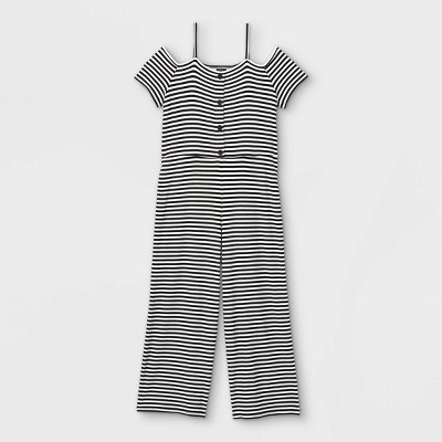 Girls' Button-Front Off the Shoulder Jumpsuit - art class™