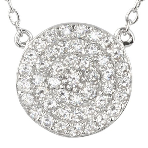 "2/5 CT. T.W. Round-cut CZ Pave Set Circle Pendant Necklace in Sterling Silver - Silver (16"") - image 1 of 2"