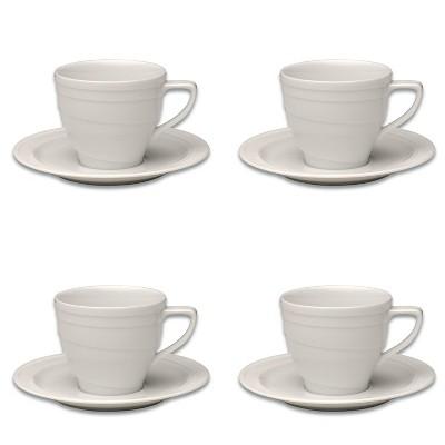 BergHOFF Essentials 4Oz Porcelain Cup & Saucers, Set of 4
