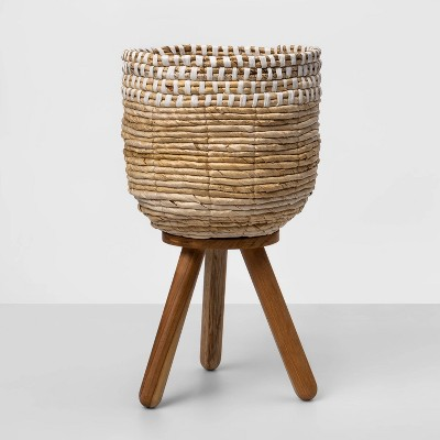 "17""x10"" Woven Planter with Wood Legs Brown - Opalhouse™"