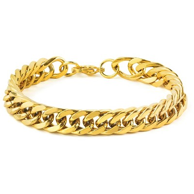 Men's West Coast Jewelry Goldtone Stainless Steel 8-Inch Curb Link Chain Bracelet