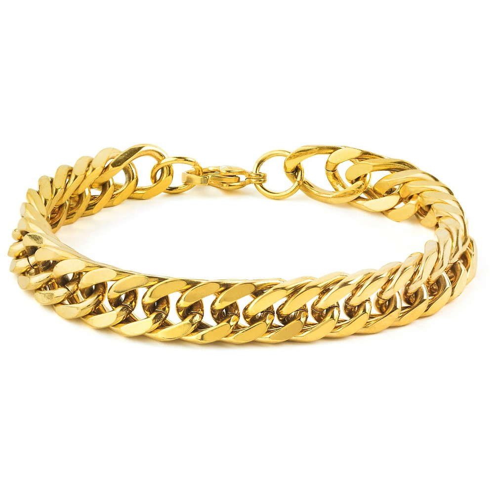 Men's West Coast Jewelry Goldtone Stainless Steel 8-Inch Curb Link Chain Bracelet, Gold