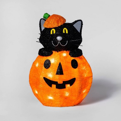 Cat in Pumpkin Incandescent Sisal Light Up Halloween Decor - Hyde & EEK! Boutique™