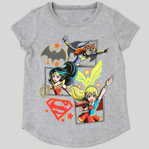 08057d1e Girls' DC Super Hero Girls Short Sleeve T-Shirt - Heather Gray : Target