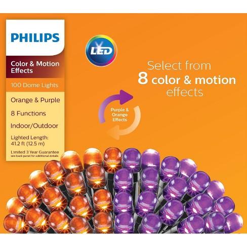 Philips 100ct Halloween LED Dome String Lights Orange/Purple