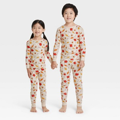Toddler Fall Leaf Print Matching Family Pajama Set - Oatmeal