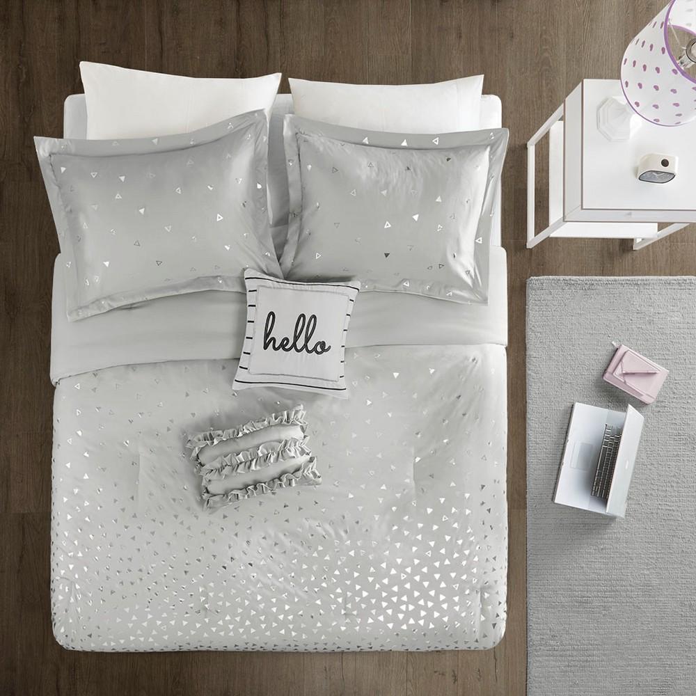 Image of Gray & Silver Nova Metallic Comforter Set (Twin/Twin XL) 4pc, Grey/Silver