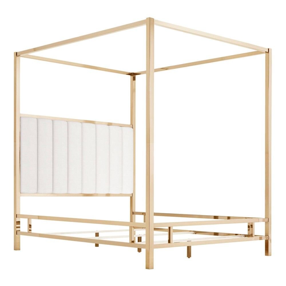 Queen Manhattan Champagne Gold Canopy Bed with Vertical Channel Headboard White - Inspire Q