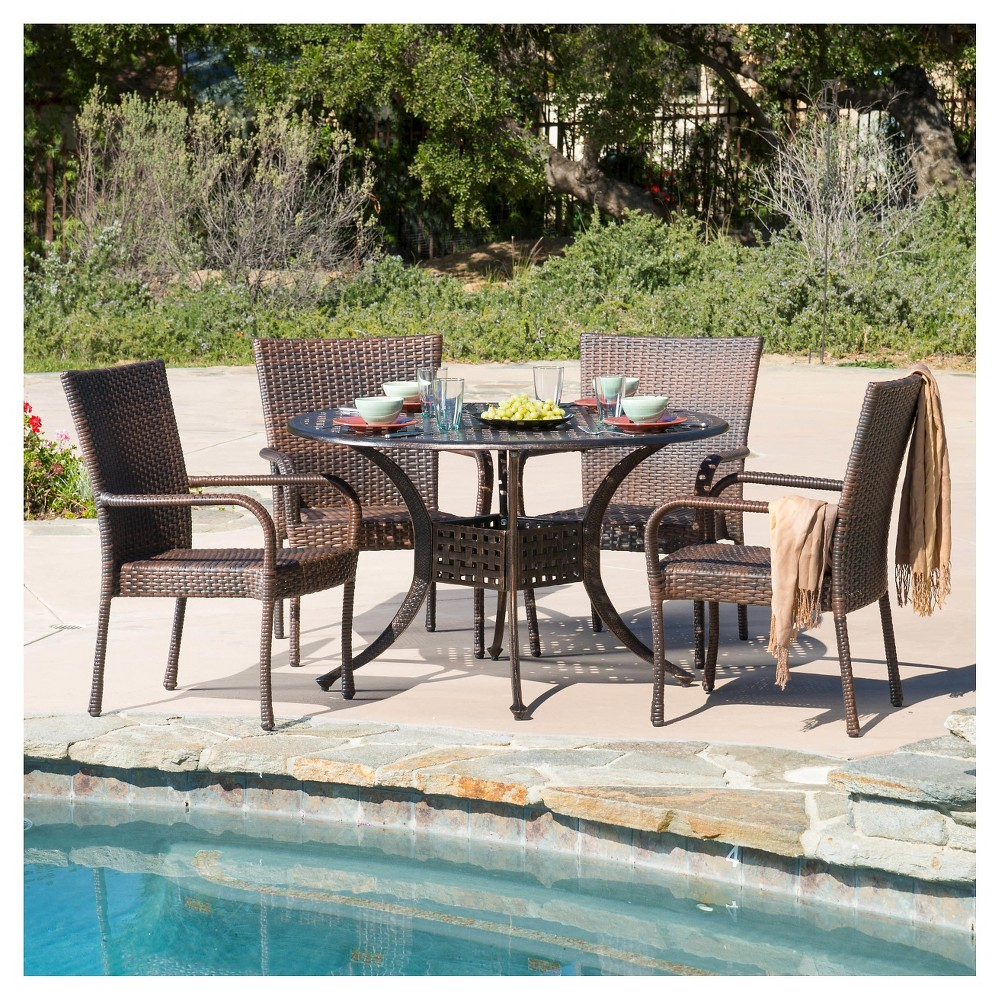 Littleton 5pc Wicker and Cast Aluminum Dining Set - Bronze/Brown - Christopher Knight Home, Bronze Brown