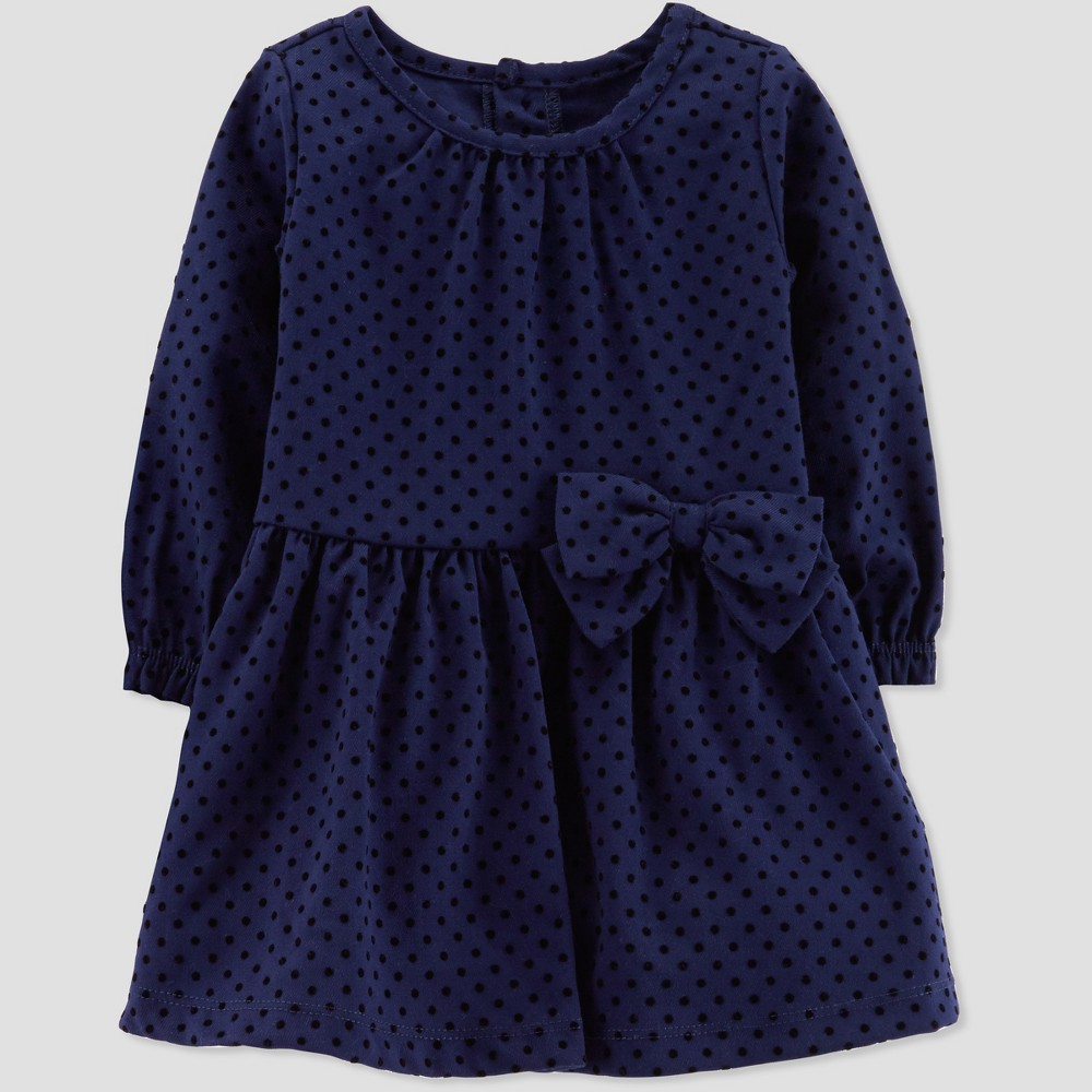 Vintage Style Children's Clothing: Girls, Boys, Baby, Toddler Toddler Girls Velvet Holiday Dressy Dress - Just One You made by carters Navy 5T Blue $18.99 AT vintagedancer.com