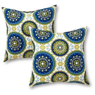 Set of 2 Summer Medallion Outdoor Square Throw Pillows - Kensington Garden
