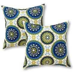 Set of 2 Lattice Outdoor Square Throw Pillows - Kensington Garden