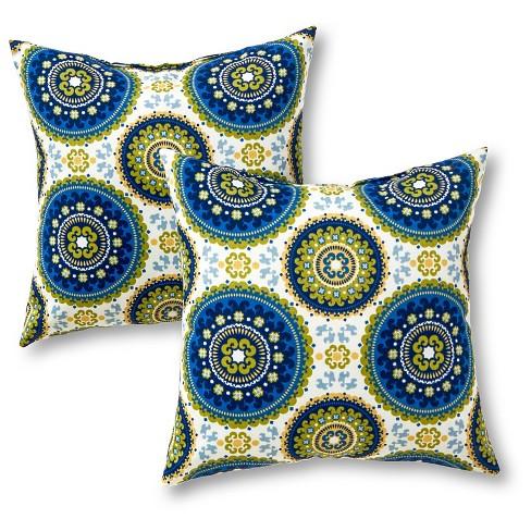 Set Of 2 Summer Medallion Outdoor Square Throw Pillows Kensington Garden Target