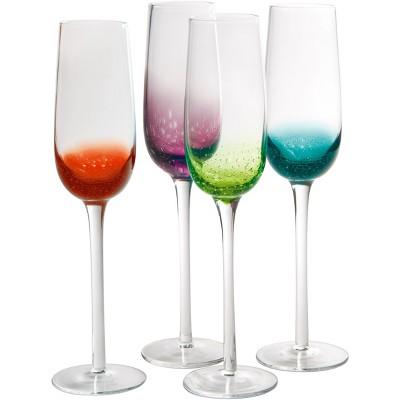 Artland Fizzy Assorted Color 8 Ounce Flute Bar Glass, Set of 4