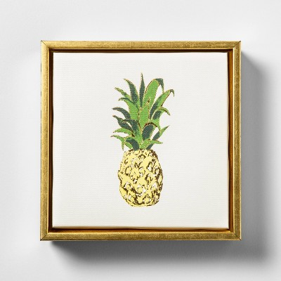 6.25 x7.5  Pineapple Foil Embellished Framed Wall Canvas - Opalhouse™