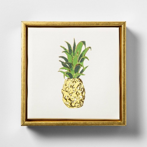 "6"" x 6"" Pineapple Foil Embellished Framed Wall Canvas - Opalhouse™ - image 1 of 4"
