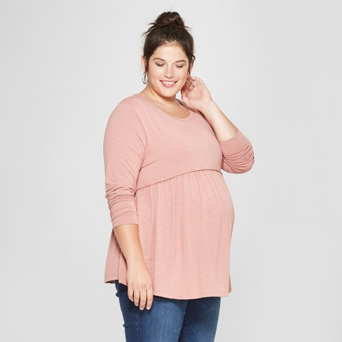 Maternity Long Sleeve Plus Size Relaxed Babydoll T-Shirt - Isabel Maternity Long Sleeve by Ingrid & Isabel™ Pink - image 1 of 2