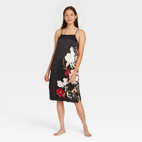 Women's Floral Print Satin Nightgown - Stars Above™ Black - image 1 of 2