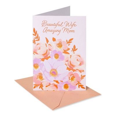 Mothers Day Card for Wife Floral Purple
