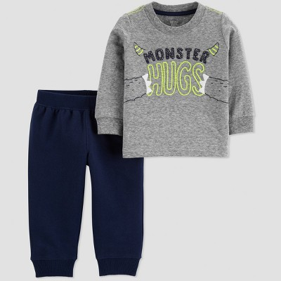 Baby Boys' 2pc Monster Hugs Pant Set - Just One You® made by carter's Gray/Navy Blue 3M
