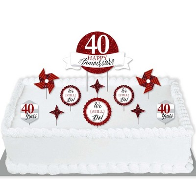 Big Dot of Happiness We Still Do - 40th Wedding Anniversary - Anniversary Party Cake Decorating Kit - Happy Anniversary Cake Topper Set - 11 Pieces