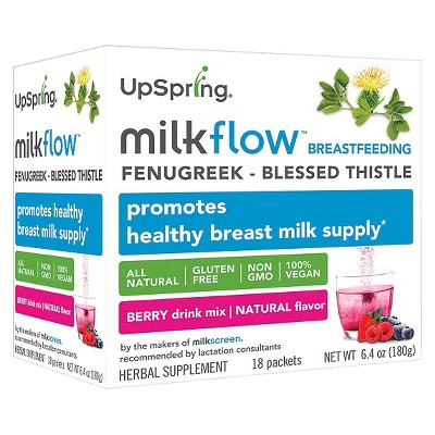 UpSpring milkflow Fenugreek Drink Mix - Triple Berry 18 pk
