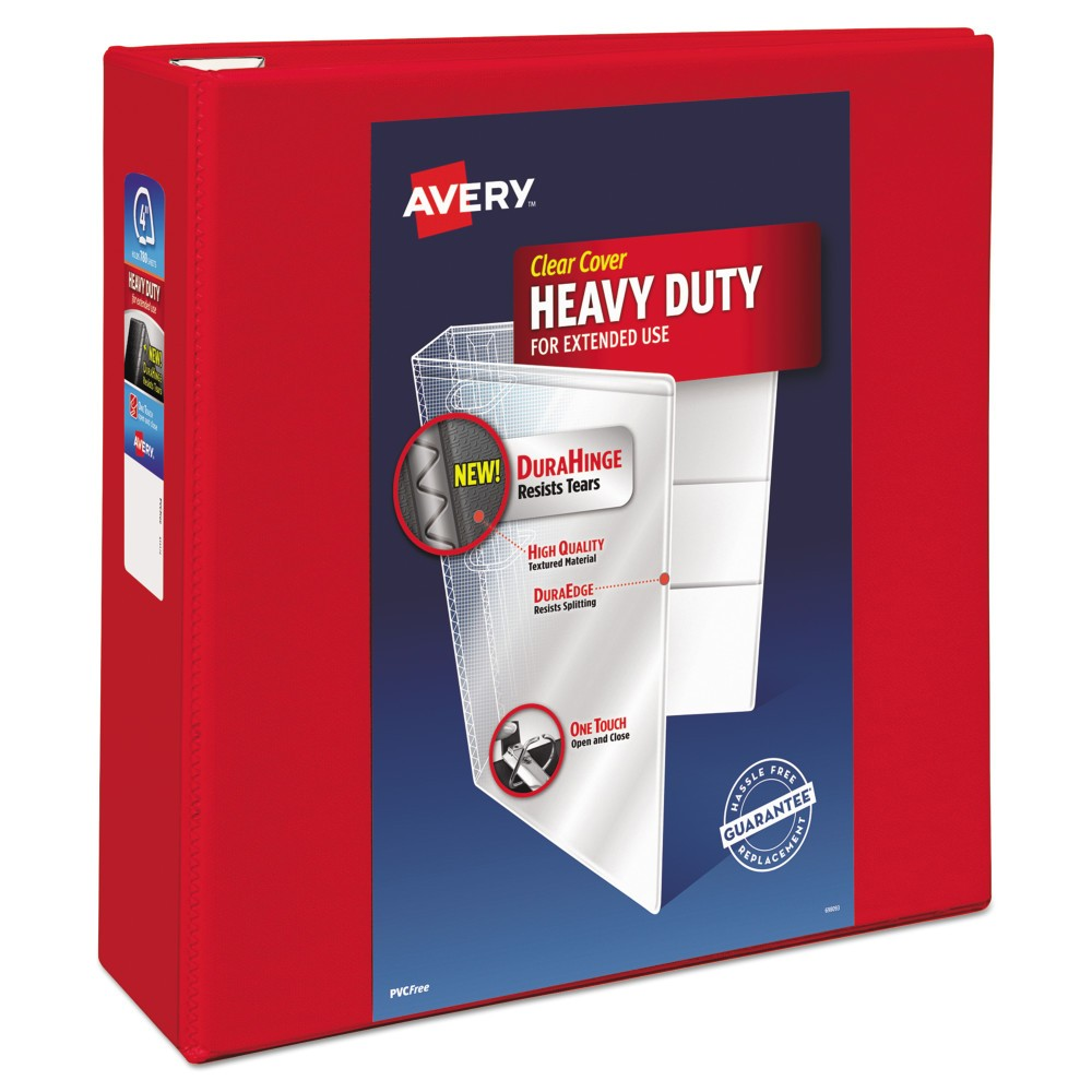 "Image of ""Avery Heavy-Duty View Binder with Locking 1-Touch EZD Rings, 4"""" Cap, Red"""