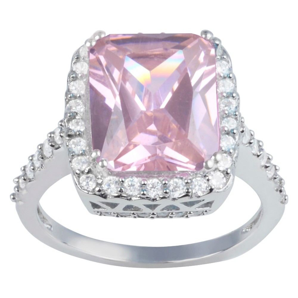 2 7/8 CT. T.W. Princess-Cut CZ Basket Set Halo Engagement Ring in Sterling Silver - Pink, 5, Girl's