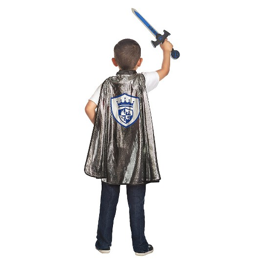 Little Adventures Boys' Adventure Knight Cape and Sword Set, Silver image number null