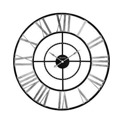 Bulova Clocks C4877 Zeeland 60 Inch Oversized Roman Numeral Quartz Movement Wall Clock with Removable Center Disk, Black/Silver