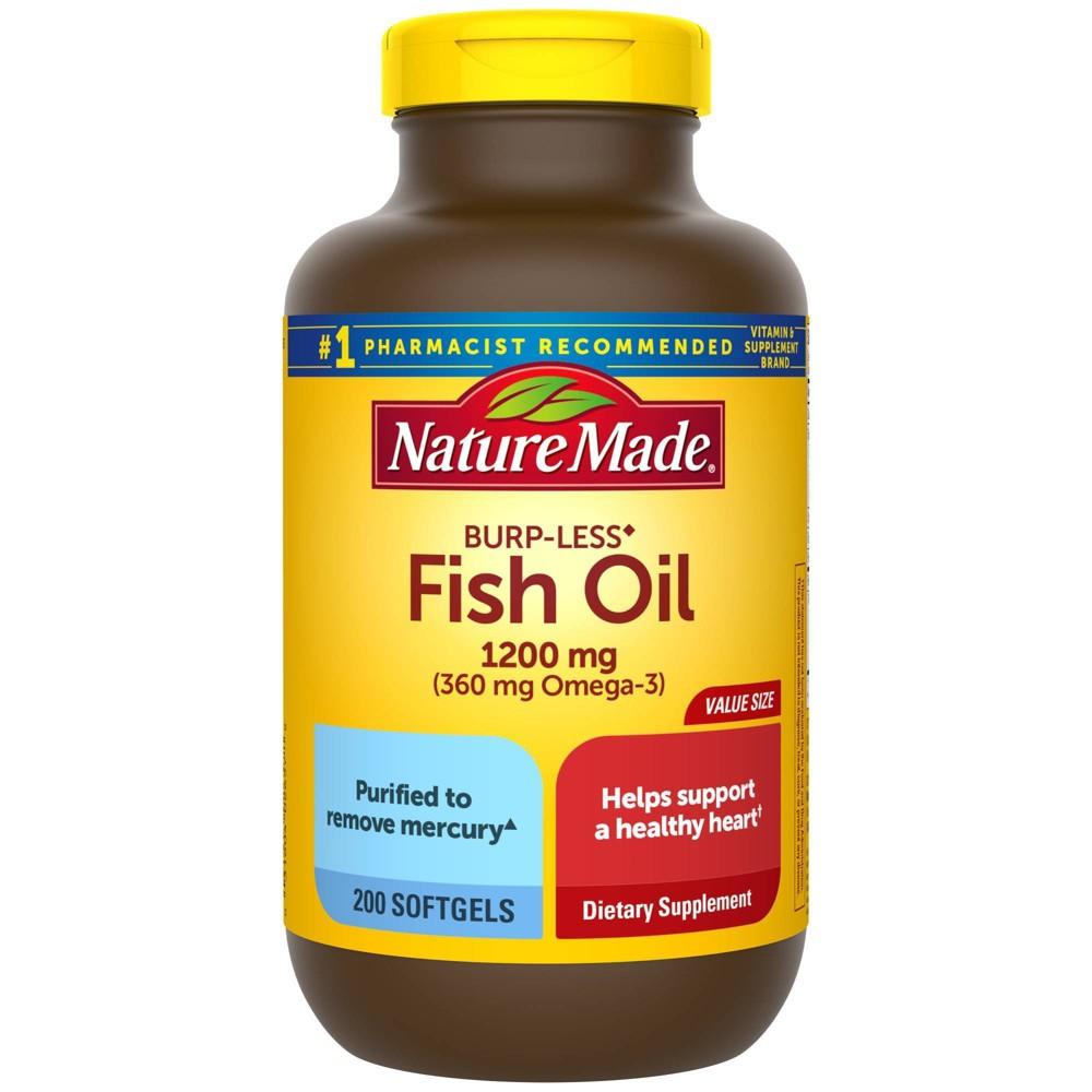 Nature Made Burp Less Fish Oil 1200 Mg Softgels 200ct